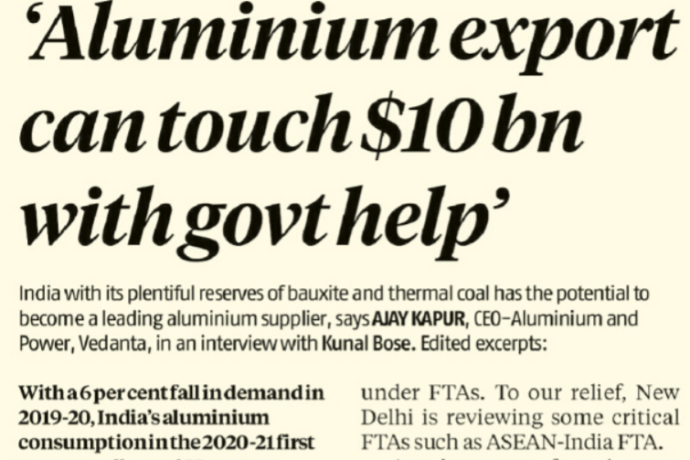 Aluminium export can touch $10 billion with govt help.