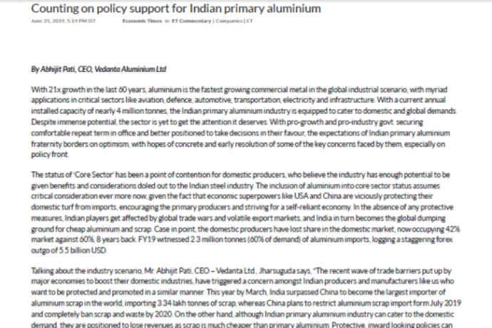 Counting on Policy Support for Primary Aluminium