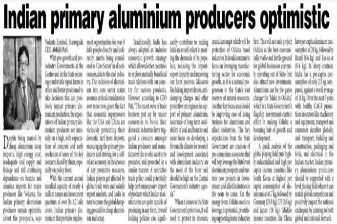 Indian Primary aluminium producers optimistic