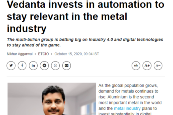 Vedanta invests in automation to stay relevant in the metal industry.