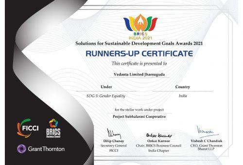 Vedanta Jharsuguda wins at BRICS India Solutions for SDG Awards 2021